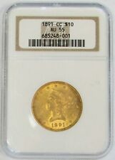 1891 CC CARSON CITY GOLD $10 LIBERTY HEAD EAGLE NGC ABOUT UNC 55