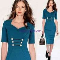 Pinup Womens Stretch Tunic Business Casual Work Party Sheath Pencil Dress N897