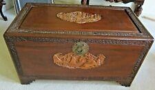 Vintage Oriental Wood Trunk/Chest , Carving , Cedar Linded.