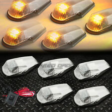 FOR 80-96 F-SERIES PICKUP 5PCS CHROME YELLOW LED CAB ROOF RUNNING LIGHTS+SWITCH