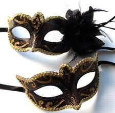 BRONZE BLACK VENETIAN MASK MASQUERADE PARTY FACE EYE COUPLES HIS N HER MASKS