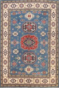 Light Blue/Ivory Geometric Super Kazak Oriental Hand-knotted Wool Area Rug 9x12