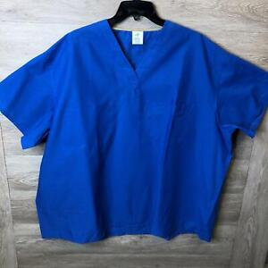 Medline Mens Size 3XL Royal Blue Reversible V-Neck With 2 Pockets Scrub Top NWOT