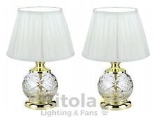 PAIR OF TELBIX VIVIAN BEDSIDE TABLE LAMPS GOLD w/ WHITE SHADE DESK TL-GD/WH