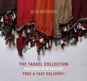 Tassel Hijab Pleated Scarf Maxi Large Shawl Cape Sarong Wrap