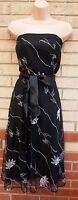 FLORENCE FRED BLACK WHITE EMBROIDERED LACE BELTED FLIPPY SKATER 50 DRESS 12 M