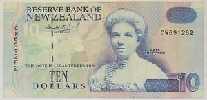 New Zealand - 1992 to 1998 - 10 Dollars - P-182a (Issued 1995) - Est. Grade F-VF