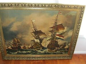"""Collectable """"Battle of Trafalgar"""" Painting by George Chambers (1803-1840)"""