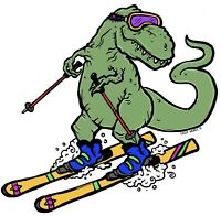 "Skiasaurus Rex T-rex Skiing High Quality Vinyl Sticker 3"" X 3"" For Skier Skis"