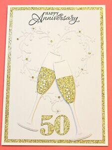 "5"" x 7"" White 50th Wedding Anniversary Handmade Card DIY Card Making Kit Glasses"
