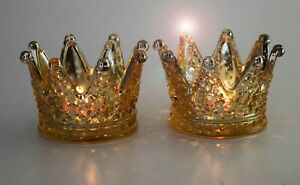 Set of 2 Golden Mercury Large Crown Candle Holder for Christmas Party Gift