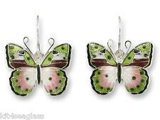 Zarah Zarlite AFRICAN PINK FORESTER BUTTERFLY EARRINGS Silver Enamel -  Boxed