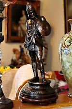 Gran Vintage árabe Guerrero Bronceado Figura De Peltre, 43 Cm