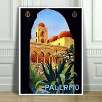 """VINTAGE TRAVEL CANVAS ART PRINT POSTER - Palermo Sicily Italy Arch - 32x24"""""""