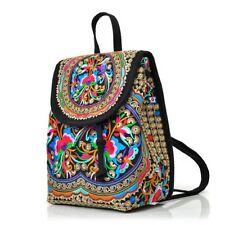 Women's Canvas Floral Embroidered Backpack Ethnic Travel Crossbody Shoulder Bag
