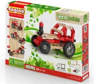 Engino Holzbaukasten Öko Lernbaukasten mit 3 Fahrzeugen aus Holz und Kunststoff