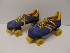 Vintage Pair of Roller derby skates Blue & yellow color yellow wheels Canada 8