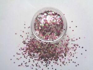 3g POT NOUVEAU PRE-MIXED GLITTER ACRYLIC POWDER  PINK AMBITION -  nail art mix