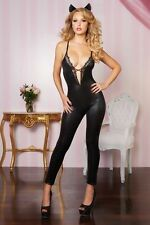 Sexy Ladies Wet Leather Look Lace Catsuit Bodysuit Jumpsuit Lace-up