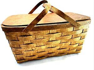 """Vintage Hand Made Woven Wooden Picnic Basket 20"""" Long EUC Wooden Handle Oak"""
