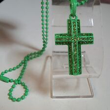 Mens Green Painted Finish  CZ CROSS  Pendant with Complementary  Chain