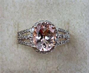 10k Yellow Gold Pink Kunzite Ring With Diamond Accents, Size 8