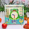 Kids Wooden Frog Clock Calendar Date Weather Board Learning Educational Toy