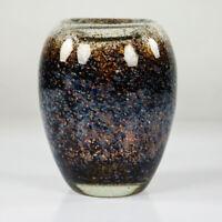 WMF Ikora Glas Vase Dexel Ei 14,5 cm braun & blau Vintage Art Deco Glass