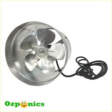 "2x HYDROPONICS 8""/200MM 40W GROWLUSH EXHAUST INLINE DUCT FAN With Metal Blade"
