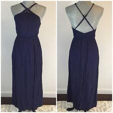 LUSH Size S Small Dark Blue Maxi Romper Jumpsuit Shorts Skort Dress Sleeveless