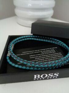 BNWT Hugo Boss Men's Teal Navy Plait Calfskin Leather Bracelet