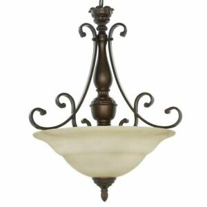 Hampton Bay Carina 3-Light Aged Bronze Pendant with Tea-Stained Glass Shade
