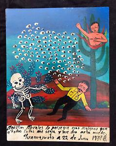 Mexican Folk Art Skeleton & Swarm Of Evil Eyes Terrify Man Ex Voto Retablo