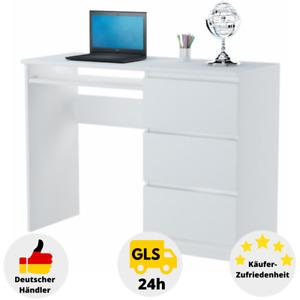 Schreibtisch Weiß Hochglanz Bürotisch Computertisch mit Schubladen Arbeitstisch