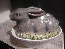 2 Piece Olfaire Ceramic Grey Rabbit Soup Tourine Serving Bowl