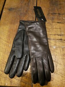 NWT LABONIA GLOVES leather cashmere brown luxury handmade Italy 6.5 6 1/2