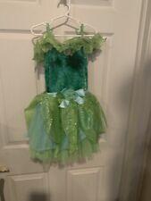 Disney Store Tinker Bell Fairy Costume Green Child Size Small 5/6 Velvet