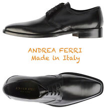 NEW $360 ANDREA FERRI HANDMADE IN ITALY BLACK CALFSKIN DRESS SHOES. SZ 44/11M
