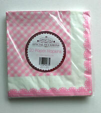 20 Special Occasions PINK & WHITE GINGHAM PAPER NAPKINS Baby Teeny Tiny 33cm