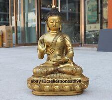 "18"" Tibet Buddhism carving dragon clothing Sakyamuni Buddha Bronze Gilt Statue"