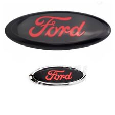 """FORD TRANSIT CUSTOM TOURNEO 9"""" FRONT AND 6"""" REAR BLACK/RED OVAL BADGE EMBLEM"""