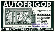 Fridge Autofrigor by Escher Wyss Lindau 1929 Austrian ad advertising Austria +
