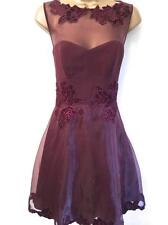 NEW Womens Karen Millen Velvet Applique Prom cocktail Dress Burgundy Size 10 38
