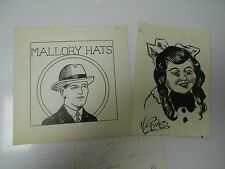 Lot of 3 Vontage Ham Fisher Pen & Ink Drawings w/ Beautiful Signature Lot 2