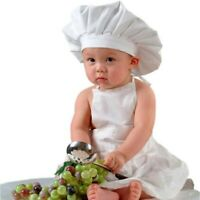 Baby Chef Apron+Hat Kids Costume Photo Cotton Cook Prop Newborn 0-1Year~