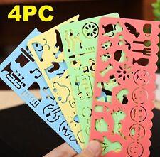 FD4662 Korea Drawing Template Plastic Ruler Student Stationery Gift 1 Set 4PCs