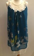 Little Mistress Blue Butterfly Dress Size S Floaty Lace Yoke Edging Sleeveless