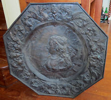 Large Early Alms Copper Tray - M.T. D'au 1690 - Germany