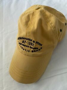 Vintage A&F Abercrombie & Fitch Yellow Baseball Cap w/ Brown Leather Strap Back