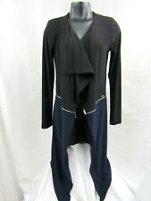 Black Blue DECA Paris Open Front Long Sleeves Cardigan Top Sz 1